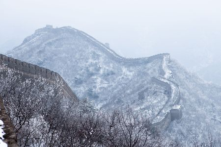Peach Blossom in full bloom in spring after the snow season, the Great Wall of China Stock Photo - 4606458