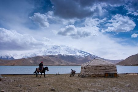 Wetlands in the Pamirs in Xinjiang scenery photo