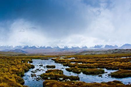 xinjiang: Le Pamir dans le Xinjiang paysage de prairies