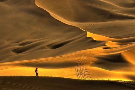 Golden Chinas Xinjiang desert beautiful Stock Photo