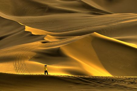 xinjiang: Golden Chinas Xinjiang desert beautiful Stock Photo