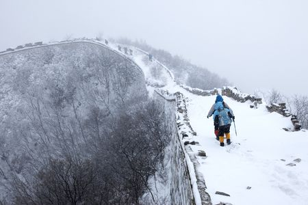 snowfall: Snowstorm in the Great Wall of China