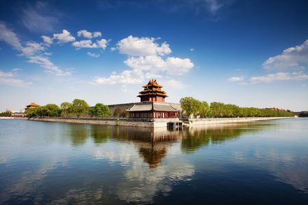 turrets: 600 years of history of ancient Chinese Palace: Forbidden City Stock Photo