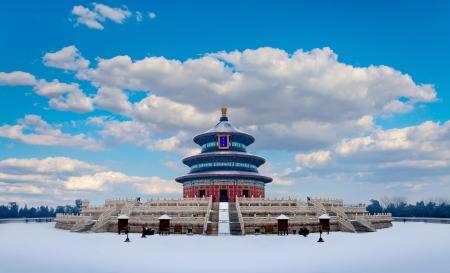 천국의 고대 중국 건축 QiNianDian 사원 스톡 콘텐츠