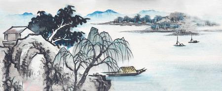 Schilderij van landelijk landschap aan de rivier
