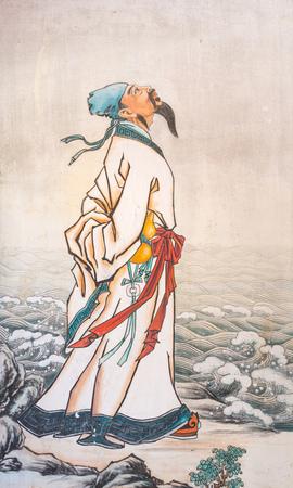 Schilderij van een goed opgeleide man op een berg Redactioneel