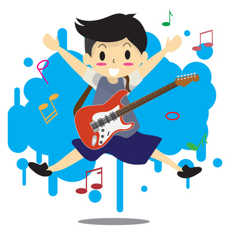 Illustration of a young boy playing an electric guitar. Ilustração