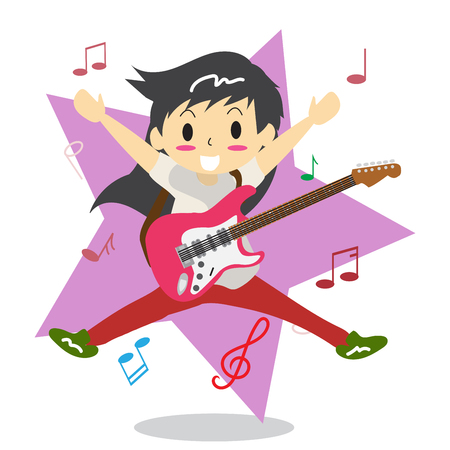 Young boy long hair playing electric rock guitar, music star character design illustration in cartoon style. Illustration
