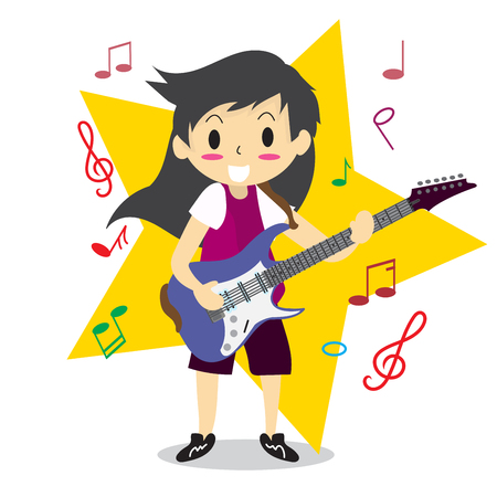 Young boy with long hair playing electric guitar. Illustration