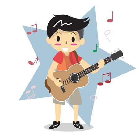 Young boy playing Acoustic guitar. Illustration