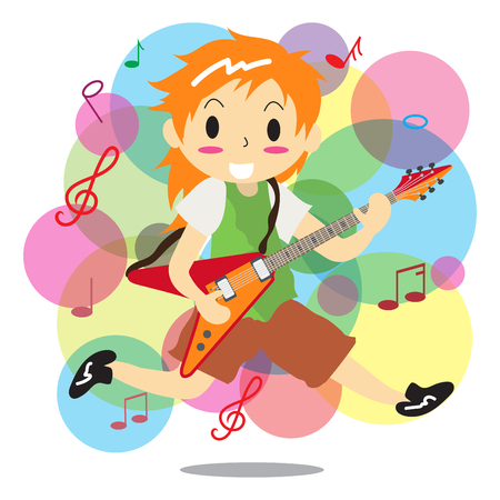 Young boy playing electric rock guitar. Illustration
