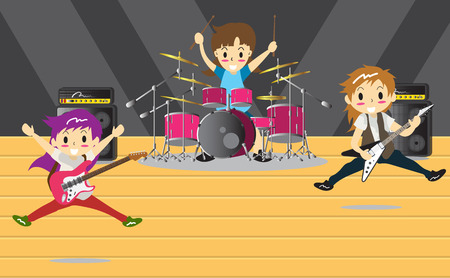 Girl band performing vector illustration