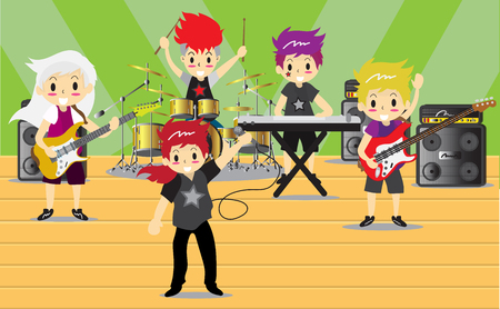 Musicians and Musical Instruments Rock band.   Boy Group Play guitar, Singer, guitarist, drummer, solo guitarist, bassist, keyboardist characters perform on stage vector illustration. Banque d'images - 92158638