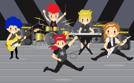 Rock band group performing vector illustration