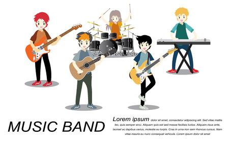 뮤지션 록 그룹, 플레이 기타, 싱어, 기타리스트, 드러머, 솔로 기타리스트, 베이시스트, 키보드리스트. 락 밴드입니다. 만화 스타일 배경에 고립 된 벡 일러스트