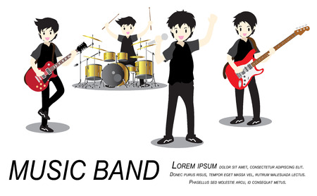 Groupe de rock musiciens, Play guitar, Chanteur, guitariste, batteur, guitariste solo, bassiste, claviériste. Illustration de rock band.vector isolé sur fond en style cartoon Banque d'images - 92309585