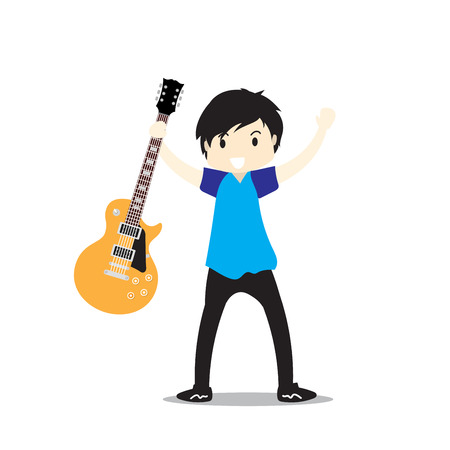 Young boy playing Electric guitar Happy Love music Vector illustration isolated on background  in cartoon style