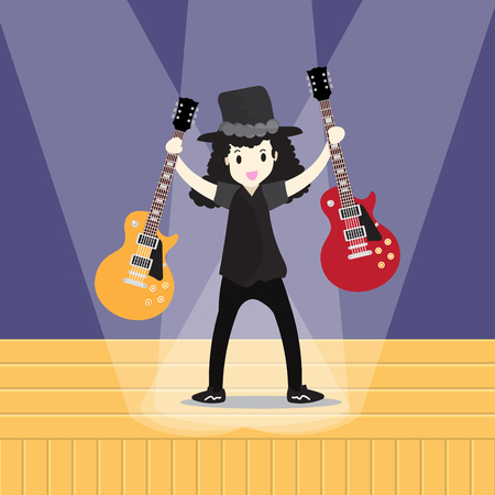 Young boy playing Electric guitar Happy Love music Vector illustration Stage background  in cartoon style Illustration