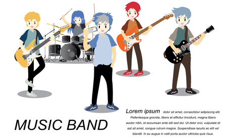 Musicians rock group ,Play guitar,Singer, guitarist, drummer, solo guitarist, bassist, keyboardist. Rock band.Vector illustration isolated on background in cartoon style3 Banque d'images - 92309703