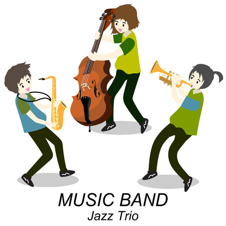 Musicians Jazz Trio ,Play Trumpet , bassist,Saxophone. Jazz band.Vector illustration isolated on background in cartoon style Illustration
