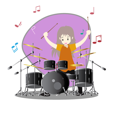 Young boy playing Drum set Happy Love music Background character design illustration vector in cartoon style