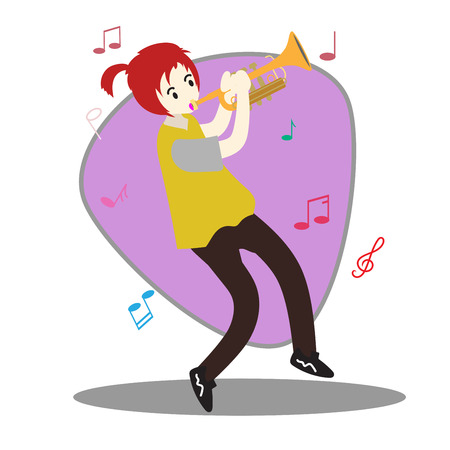 Young boy playing Trumpet  Happy Love music Background character design illustration vector in cartoon style