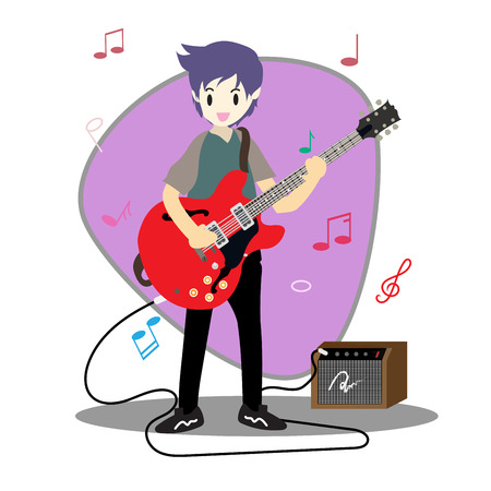 Young boy playing guitar Happy Love music Background character design illustration vector in cartoon style