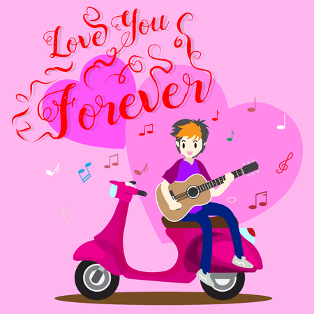 Boy playing guitar on a classic motorcycle for Valentines day. on happy valentines day and Love pink background design for valentines festival .Vector illustration.Cartoon style.