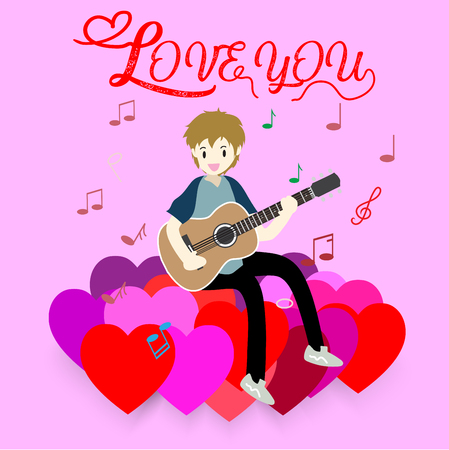 Boy play guitar love for Valentines day.on  Happy valentines day and Love pink backgroung design for valentines festival .Vector illustration.Cartoon style. Illustration