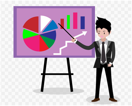 Businessman and graphs on whiteboard. Presentation concept, seminar, training, conference,effort and going beyond. Business strategy and finance.Characters.business concept .on isolate background.Vector illustration.Cartoon style.