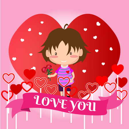 Boy love for Valentines day.on  Happy valentines day and Love pink background design for valentines festival .Vector illustration.Cartoon style. Illustration
