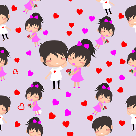 Boy and Girl love Hearts seamless pattern background, ideal for celebrations, wedding invitation, and valentines day festival .Vector illustration.Cartoon style. Illustration