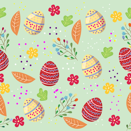 cute easter eggs seamless pattern with coulerful flower on cools background for easter festival 