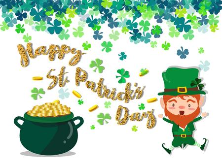Happy Saint Patricks day Festival. Irish celebration. Green clover shamrock leaves on isolated background
