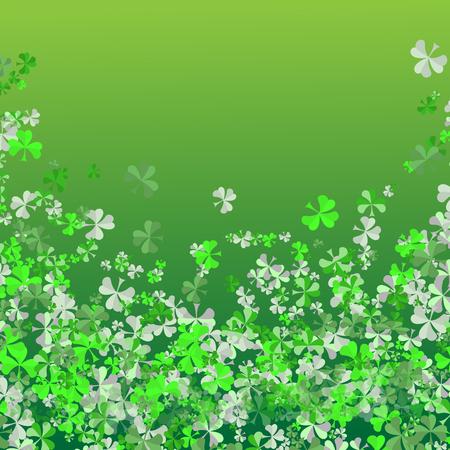 Saint Patricks day Festival. Irish celebration. Green clover shamrock leaves on green background