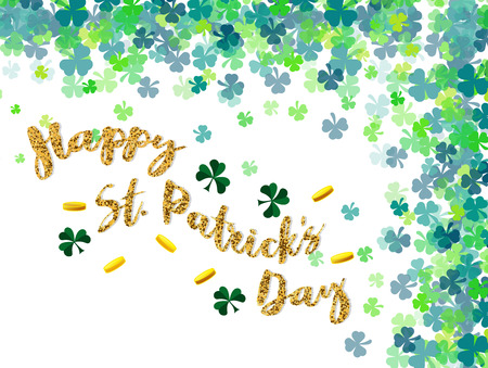 Happy Saint Patricks day Festival. Irish celebration .Green clover shamrock leaves on isolate background for poster, greeting card, party invitation, banner other users Vector illustration Illustration