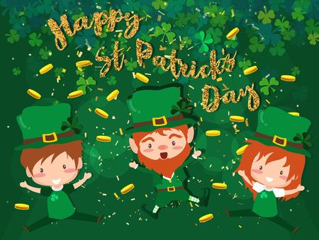 Happy Saint Patrick's day Festival. Irish celebration. Green clover shamrock leaves on isolate background