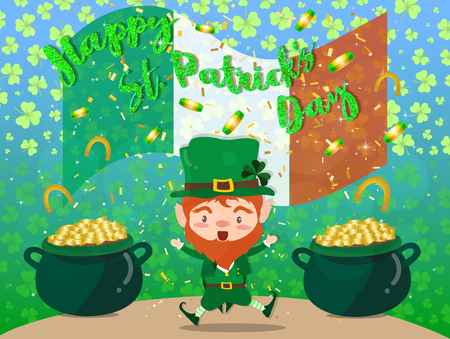 Happy Saint Patricks day Festival. Irish celebration. Green clover shamrock leaves on isolate background with pots of gold for poster, greeting card, party invitation, banner other users Vector illustration