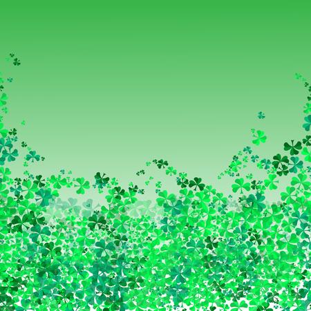 Happy Saint Patrick's day Festival. Irish celebration. Green clover shamrock leaves on Green background
