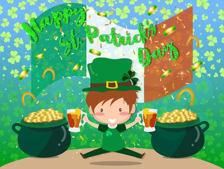 Happy Saint Patricks day Festival. Irish celebration. Green clover shamrock leaves on Green background