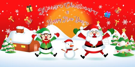 merry christmas.santa claus cute cartoon.for Christmas and New Year background.vector illustration Illustration