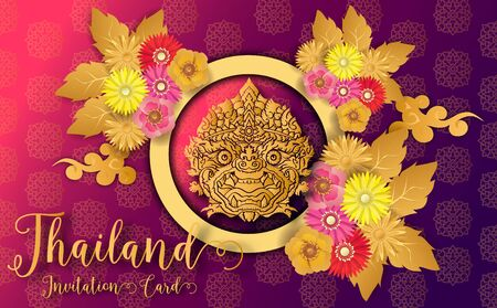 Thailand ancient Luxury concept .Thai traditional style.vector illustration for Travel in Thailand.poster,greeting card, party invitation,banner,brochure,other use