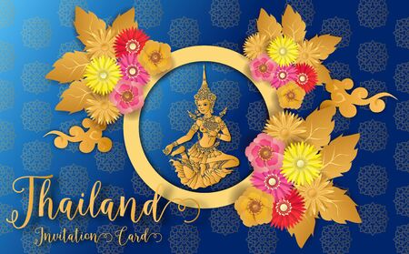 Thailand ancient Luxury concept .Thai traditional style.vector illustration for Travel in Thailand.poster,greeting card, party invitation,banner,brochure,other use 向量圖像