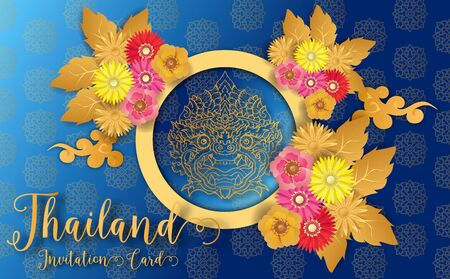 Thailand ancient Luxury concept .Thai traditional style.vector illustration for Travel in Thailand.poster,greeting card, party invitation,banner,brochure,other use 矢量图像