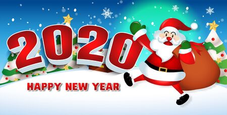 Happy new year 2020 with santa claus cute cartoon.for Christmas and New Year background.vector illustration Vetores