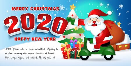 Happy new year 2020 with santa claus cute cartoon.for Christmas and New Year background.vector illustration