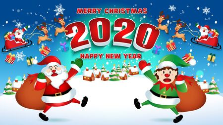 Merry christmas and Happy new year 2020 with santa claus cute cartoon.for Christmas and New Year background.vector illustration