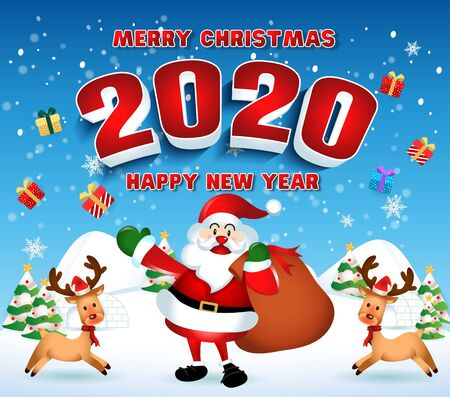 Merry christmas and Happy new year 2020 with santa claus cute cartoon. for Christmas and New Year background. vector illustration
