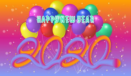 Happy new year 2020.Colorful Design 3D background for greetings card,banner,web, flyers, invitation.vector illustration