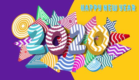 Happy new year 2020.Colorful Design 3D background for greetings card, banner, web, flyers, invitation. vector illustration Vettoriali